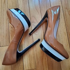 ZARA Nude Black White Platform Heels Size 7.5